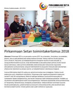 Kansivu Pirkanmaan Setan toimintakertomus 2018